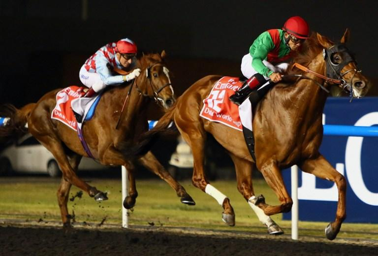 Joel Rosario (R) on Animal Kingdom competes before winning the $10 million Dubai World Cup, the world's richest race, at Meydan race track in Dubai on March 30, 2013. The 2011 Kentucky Derby winner (11/2), trained by Australian Graham Motion and ridden by Rosario, beat home English raider Red Cadeaux by two lengths while another English-trained runner Planteur was third. AFP PHOTO/MARWAN NAAMANI
