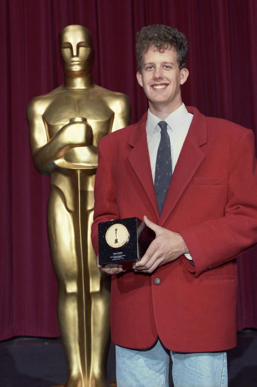 This undated publicity photo provided by the Motion Picture Academy of Arts and Sciences shows Peter H. Docter at the 1992 (19th) Student Academy Awards presentation ceremony. The latest group of Student Academy Award winners will be celebrated at a ceremony at the Motion Picture Academy of Arts and Sciences in Los Angeles on June 8, 2013. (AP Photos/AMPAS)