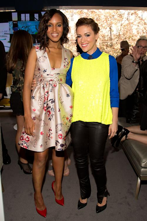 "Actors Kerry Washington, left, and Alyssa Milano attend the ""Project Runway"" fashion show on Friday, Sept. 6, 2012, during Fashion Week in New York. (Photo by Dario Cantatore/Invision/AP)"