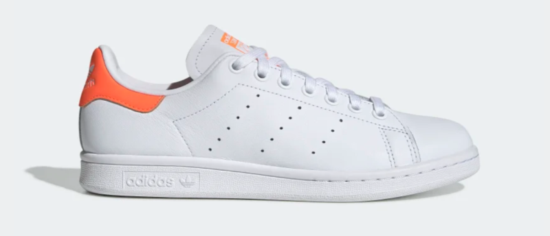 adidas Women's Stan Smith Shoes in Cloud White and Solar Orange