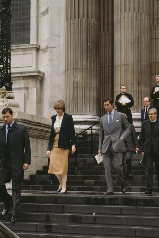 <p>Diana and Charles are seen leaving St. Paul's Cathedral after their first wedding rehearsal on June 12, 1981 — 47 days before the big day. Hey, if you were getting married in front of, oh, I don't know, the entire world, you'd want lots of practice too.</p>