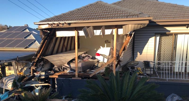 The Lennards' home in Cringila has been destroyed (pictured is one of the rooms completely ruined) and inspectors have found asbestos, leaving the family homeless.