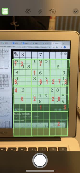 Using QR code scanning app to scan sudoku