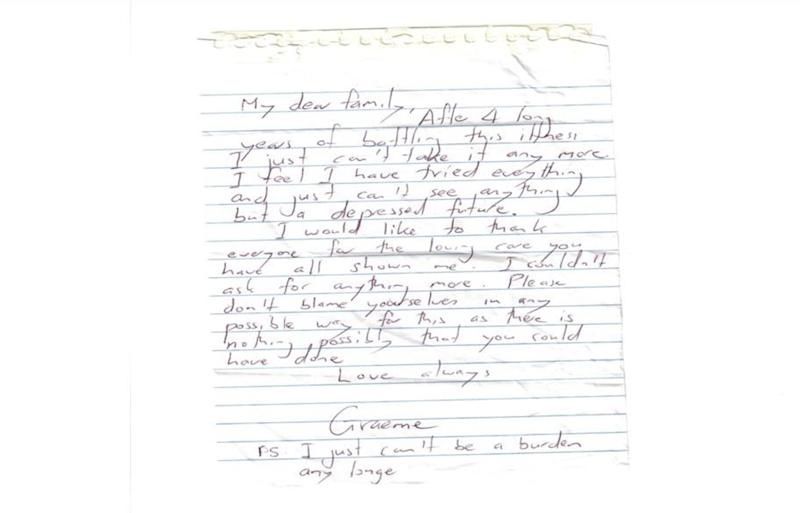 R U OK? Day founder Graeme Cowan's suicide note from July 24, 2004.