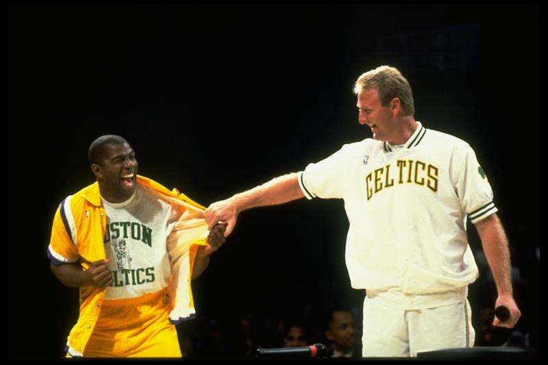 Basketball: Larry Bird night feature. Boston Celtics Larry Bird casual w. LA Lakers Magic Johnson. Birds retirement ceremony. (Photo by Steve Lipofsky/The LIFE Images Collection via Getty Images/Getty Images)