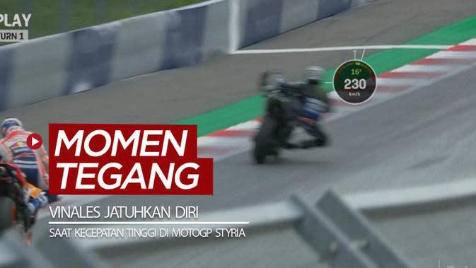 VIDEO: Momen Maverick Vinales Jatuhkan Diri dari Motor dalam Kecepatan Tinggi di MotoGP Styria