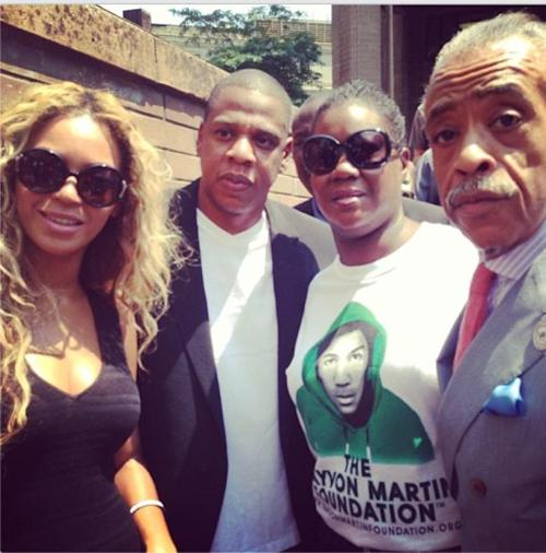 Beyonce, Jay Z Silently Join Trayvon Martin's Mom at Rally