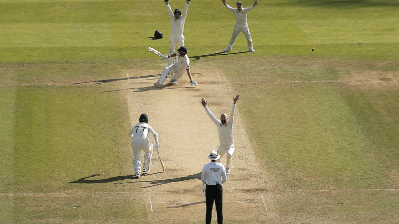 Nathan Lyon, pictured here after his lbw shout was turned down. (Photo by Ryan Pierse/Getty Images)