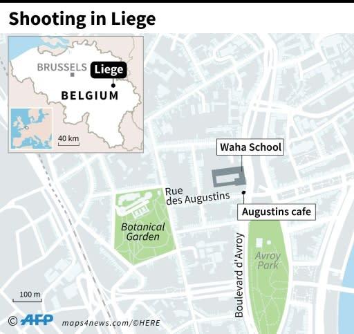 Map of Liege, Belgium, locating gun attack