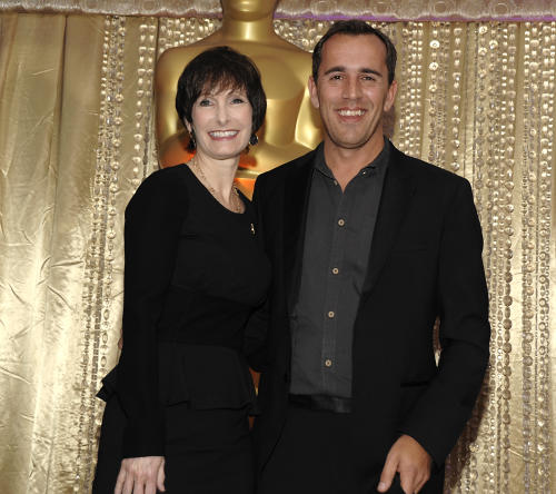 """Producer Gale Anne Hurd, left, and director Nikolaj Arcel pose together during the The Oscars Foreign Language Film Award Directors Reception at The Academy of Motion Picture Arts and Sciences in Beverly Hills, Calif. on Friday, Feb. 22, 2013. Arcel's feature film """"A Royal Affair"""" is nominated for Best Foreign Language Film. (Photo by Dan Steinberg/Invision/AP)"""