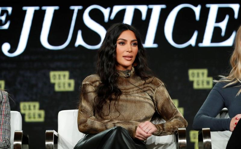 """Television personality Kardashian attends a panel for the documentary """"Kim Kardashian West: The Justice Project"""" during the Winter TCA (Television Critics Association) Press Tour in Pasadena"""