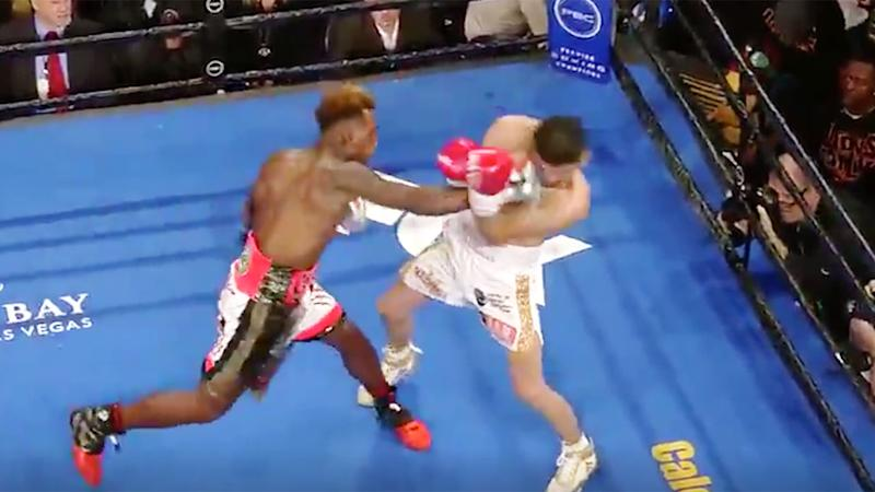 Jermell Charlo's huge right on Jorge Cota spelled an end to the fight. Pic: Fox Sports