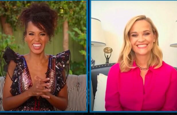 Kerry Washington, Reese Witherspoon Brainstorm Virtual Emmys Attire and Takeout Options (Video)