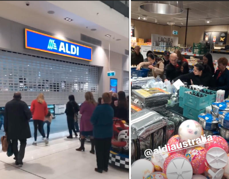 One woman shared shots of crowds lining up, then rushing the store as it opened. Photo: Instagram/ diary_of_a_military_family_au