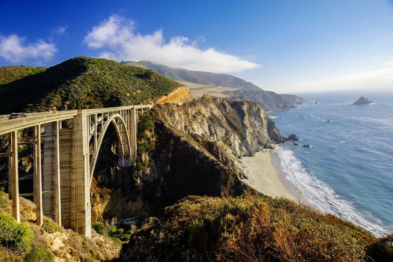"<p>This instantly recognizable bridge along Highway 1 was seen on numerous occasions in <a href=""https://www.countryliving.com/life/a28323920/meryl-streep-why-big-little-lies-cut-ice-cream-scene-reese-witherspoon/"" target=""_blank"">Big Little Lies</a>, including the opening credits. In the show it was just another morning where scheming mothers Madeline, Celeste, and Jane (played by Reese Witherspoon, Nicole Kidman, and Shailene Woodley) were driving their children to school. Other spots just north in Monterey such as the police station defined scenes in the HBO series.</p>"