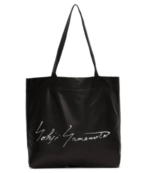 Yohji Yamamoto black logo tote, 48% off. US$531 (was US$1021.85). PHOTO: Ssense