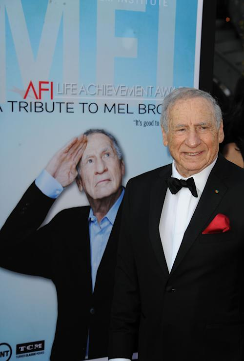 Mel Brooks arrives at the American Film Institute's 41st Lifetime Achievement Gala at the Dolby Theatre on Thursday, June6, 2013 in Los Angeles. (Photo by Katy Winn/Invision/AP)