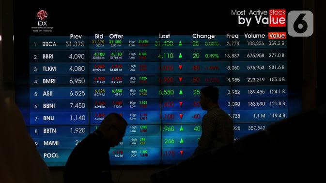 Pekerja tengah melintas di layar pergerakan IHSG di Bursa Efek Indonesia, Jakarta, Senin (18/11/2019). Indeks Harga Saham Gabungan (IHSG) ditutup pada zona merah pada perdagangan saham awal pekan ini IHSG ditutup melemah 5,72 poin atau 0,09 persen ke posisi 6.122,62. (Liputan6.com/Angga Yuniar)