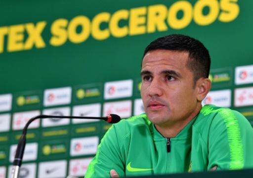 Australia forward Tim Cahill speaks to the press at the team's training base in Kazan, Russia