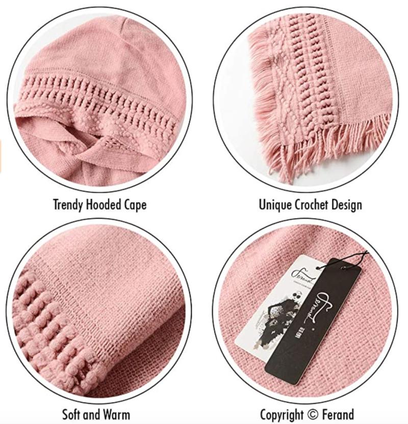 Ferand Hooded Crochet Poncho in Pink (Photo via Amazon)