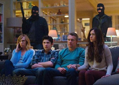 "This publicity image released by CBS shows, seated from left, Toni Collette, Mateus Ward, Tate Donovan, and Quinn Shephard in a scene from ""Hostages,"" premiering Monday, Sept 23 at 10 p.m. EST on CBS. (AP Photo/CBS, Nicole Rivelli)"
