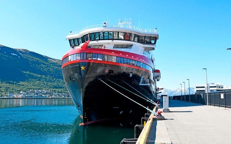 Hurtigruten's Roald Amundsen is currently docked in Tromsø
