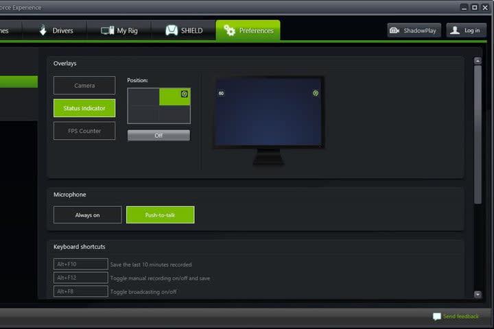 Image of GeForce Experience FPS Menu