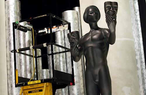 An Actor statue for the 19th annual SAG Awards are seen on stage, Saturday, Jan 26, 2013 in Los Angeles. The SAG Awards will be held Jan. 27, 2013. (Photo by Matt Sayles/Invision/AP)