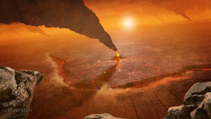 An artist's concept of active volcanos on Venus