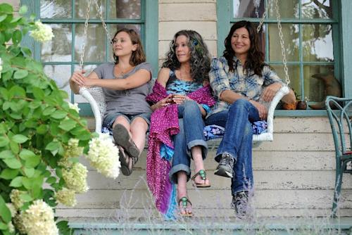 """This image released by IFC Films shows Elizabeth Olsen, left, Jane Fonda and Catherine Keener in a scene from """"Peace Love and Misunderstanding."""" (AP Photo/IFC Films)"""
