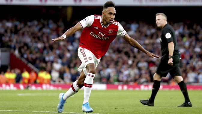 Pemain Arsenal, Pierre-Emerick Aubameyang. (AP Photo/Steven Paston)