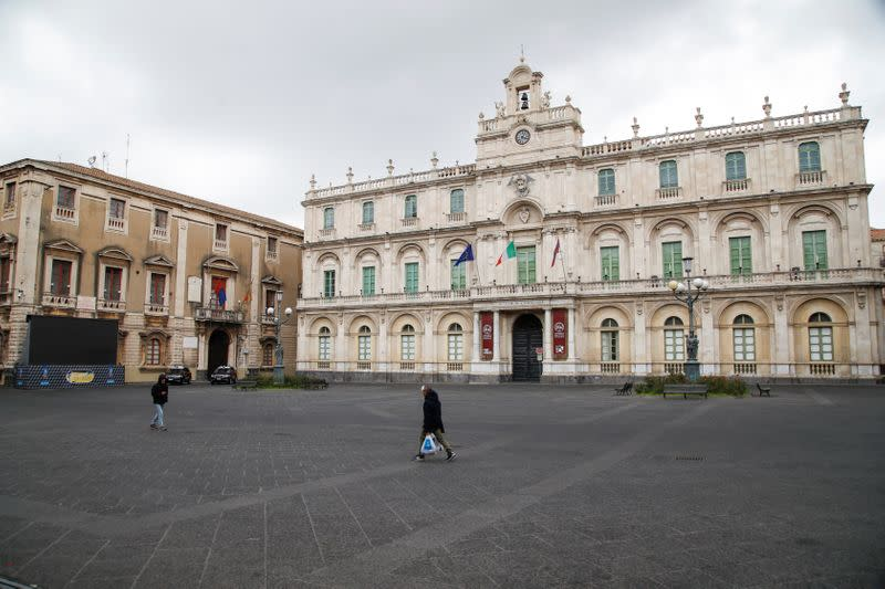 A deserted square is pictured, after Italy reinforced the lockdown measures to combat the coronavirus disease (COVID-19) in Catania