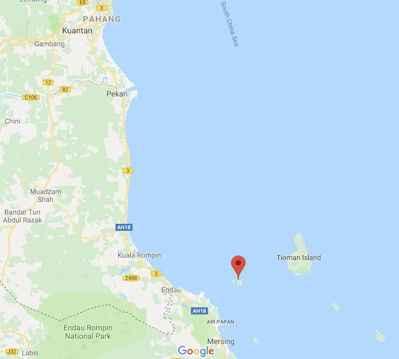 Google Map screenshot showing the location of Endau Islands.