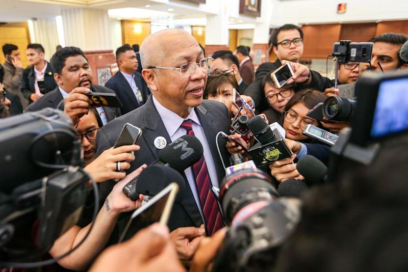 Ketereh MP Tan Sri Annuar Musa speaks to reporters at Parliament in Kuala Lumpur October 10, 2019. — Picture by Firdaus Latif