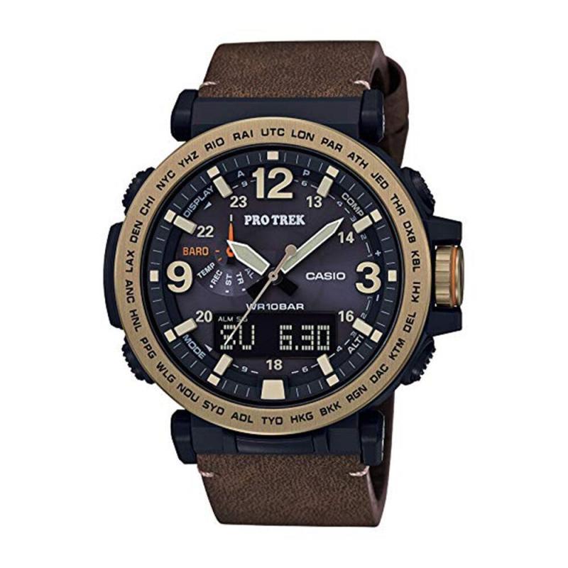 Casio Men's PRO Trek Quartz Watch with Leather Calfskin Strap