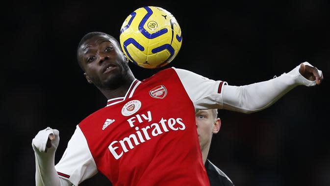 5. Nicolas Pepe (80 juta euro) - Arsenal juga memiliki catatan pembelian pemain termahal di kompetisi Premier League. Pada tahun 2019, Arsenal memboyong Nicolas Pepe dari LOSC Lilie dengan harga 80 juta euro. (AFP/Ian Kington/Ikimages)