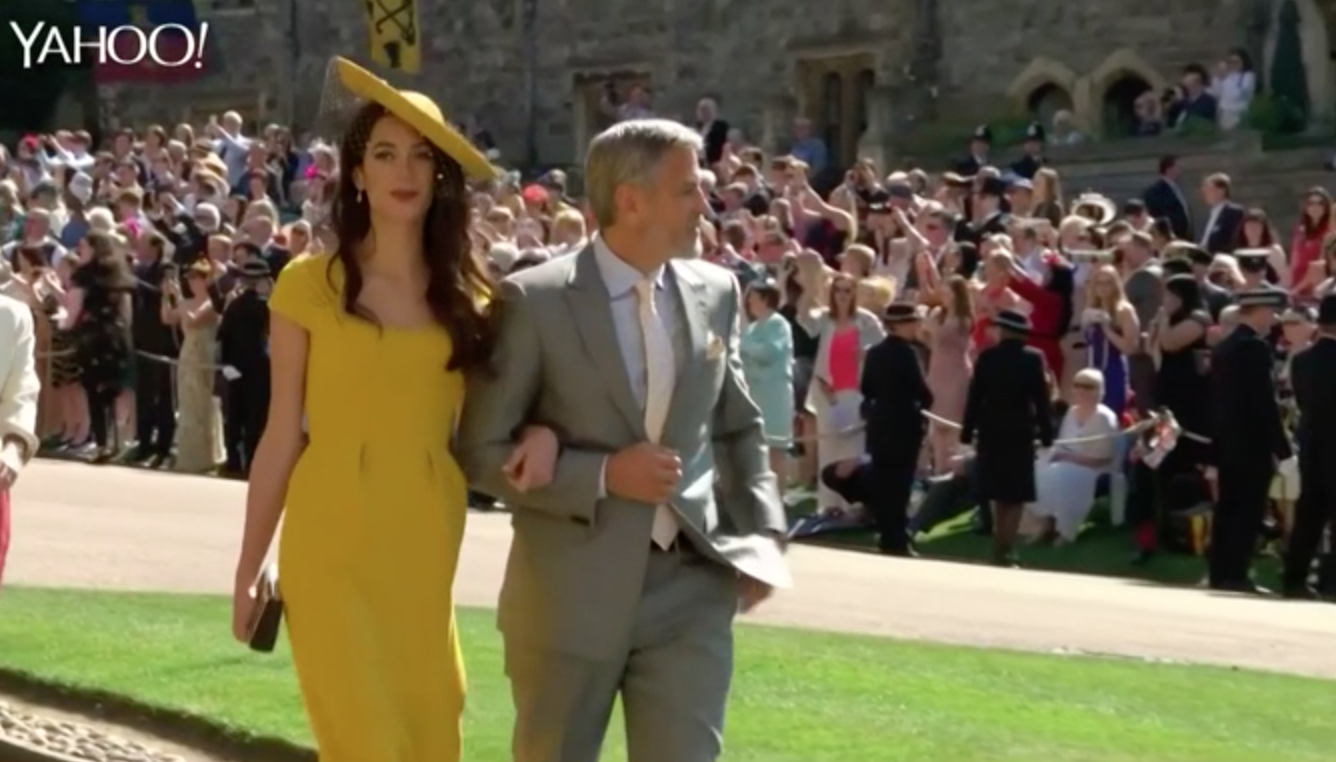 George and Amal Clooney's royal wedding arrival