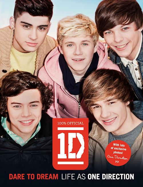 "In this book cover image released by HarperCollins Children's Books, members of the British band One Direction, clockwise from bottom left, Harry Styles, Zayn Malik, Niall Horan, Louis Tomlinson and Liam Payne are shown on the cover of their book, ""Dare to Dream: Life As One Direction."" The book, which documents the pop group's journey to stardom, will be released in the U.S. on May 22, 2012. (AP Photo/HarperCollins Children's Books )"