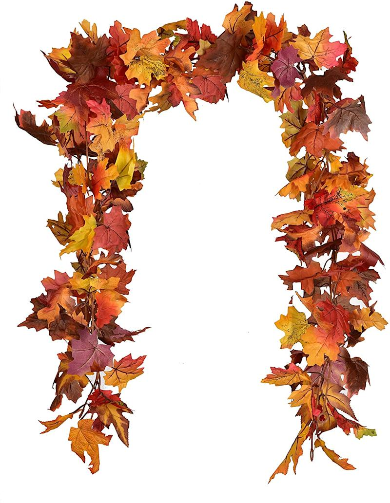 12Ft 6ft/pc Fall Garland Fall Maple Leaves Garland Artificial Fall Foliage Garland for Indoor Outdoor.