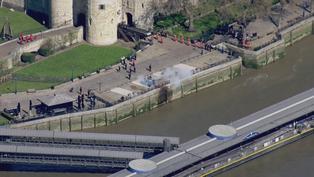 Prince Philip: Aerials of Tower of London gun salute
