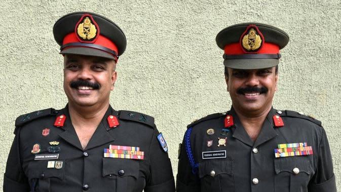 Jenderal militer yang berpartisipasi dalam Sri Lanka Twins Group, Jayantha dan Pooraka Seneviratne. (Source: AFP)