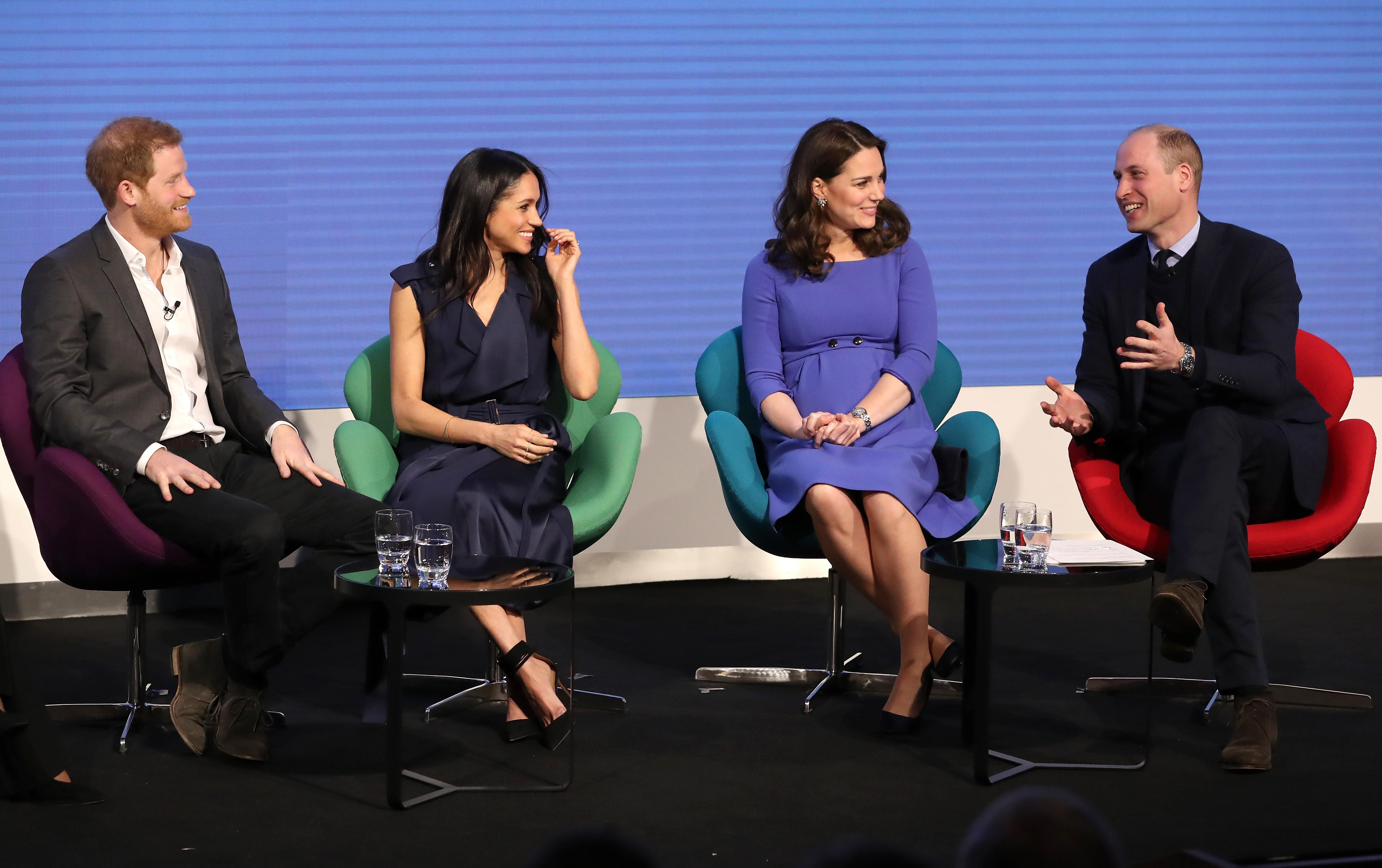 (L-R) Britain's Prince Harry, his fiancee US actress Meghan Markle, Britain's Catherine, Duchess of Cambridge and Britain's Prince William, Duke of Cambridge attend the first annual Royal Foundation Forum on February 28, 2018 in London. (Photo by Chris Jackson / POOL / AFP) (Photo credit should read CHRIS JACKSON/AFP/Getty Images)