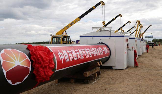 Construction of the Chinese section of the China-Russia east-route natural gas pipeline kicks off in Heihe, northeast China's Heilongjiang province, in 2015. Photo: Xinhua