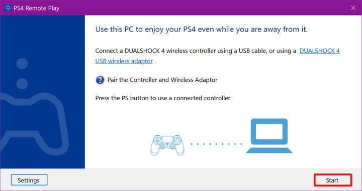 Start PS4 Remote Play