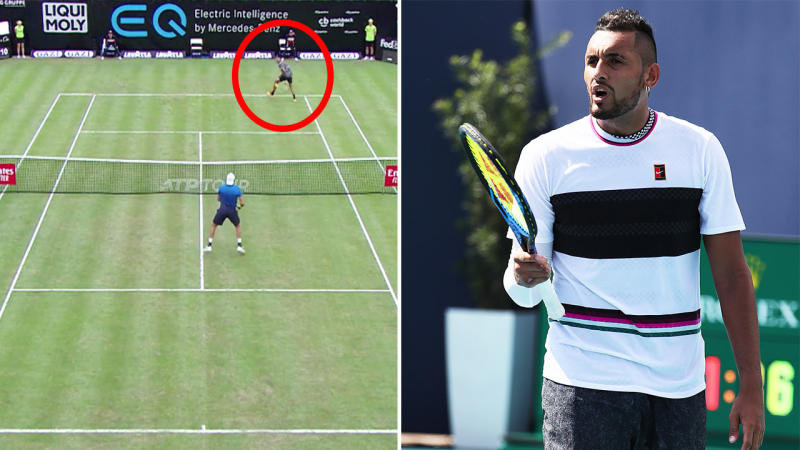 Nick Kyrgios produced an extraordinary point in Stuttgart. (Images: @TennisTV/Getty Images)