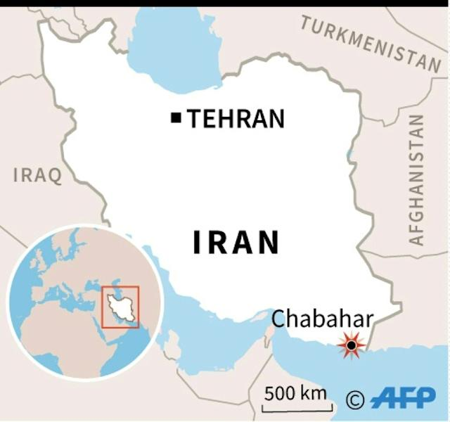 Map of Iran locating bomb attack in Chabahar