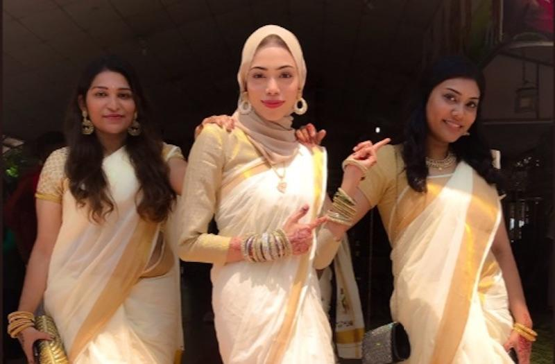 Twitter user Jasila Syed looked gorgeous on her friend's wedding day as she combined both South Indian and Muslim elements into her bridesmaid's attire. — Picture via Twitter /@jasilasyed