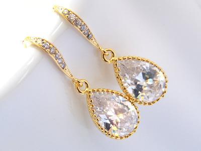 Clear Earrings Bridesmaid Earrings Wedding Jewelry Glass Earrings Bridal Earrings Bridesmaid Gifts Crystal Gold Bride Earrings