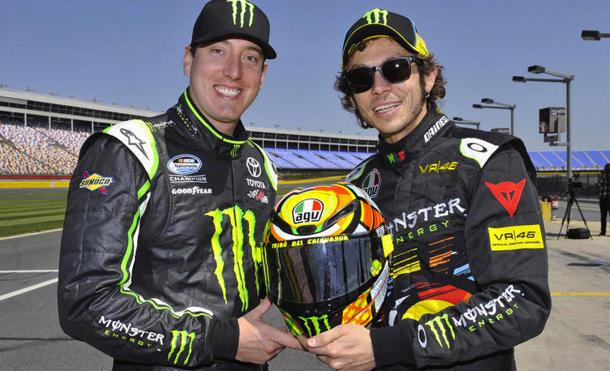 Kyle Busch lets MotoGP star Valentino Rossi take a spin in his NASCAR