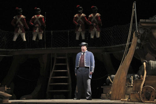 """In this Wednesday, May 2, 2012 photo, James Morris performs as John Claggart during the final dress rehearsal of Benjamin Britten's """"Billy Budd"""" at the Metropolitan Opera in New York. (AP Photo/Mary Altaffer)"""